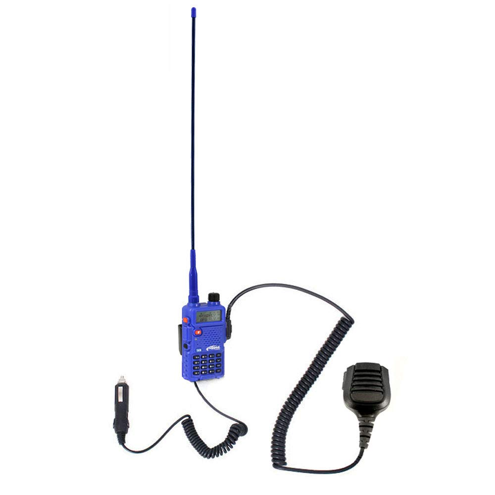Rugged Radios TRAIL-RIDER-5R 5 Watt Dual Band 12 Volt Battery Eliminator and Radio Mount Two Way Handheld Radio Kit with Ducky Antenna UHF//VHF Hand Mic