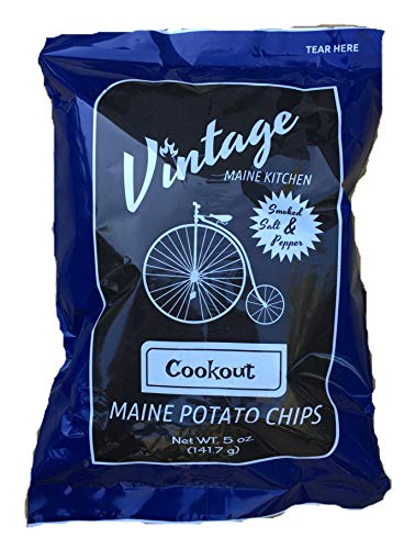 Vintage Maine Kitchen Cookout Potato Chips - Smoked Salt & Pepper - 5 pk made in New England