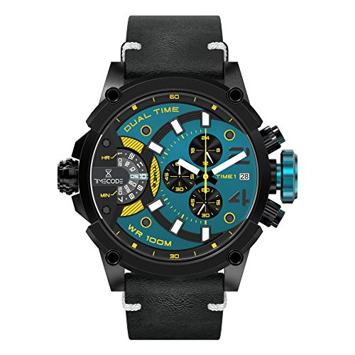 Timecode Marconi 1896 TC-1002-06 Black Stainless steel 50mm Men's Watch BLACK AQUA YELLOW dial with WHITE accents on a Black genuine leather strap with Date, Dual time and Chronograph