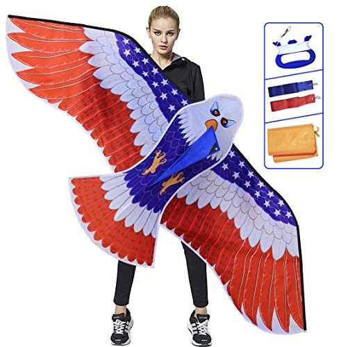 Huge Patriotic Eagle Kite for Kids and Adults,Easy To Fly For Beach Trip, Outdoor Activities,Wingspan 73