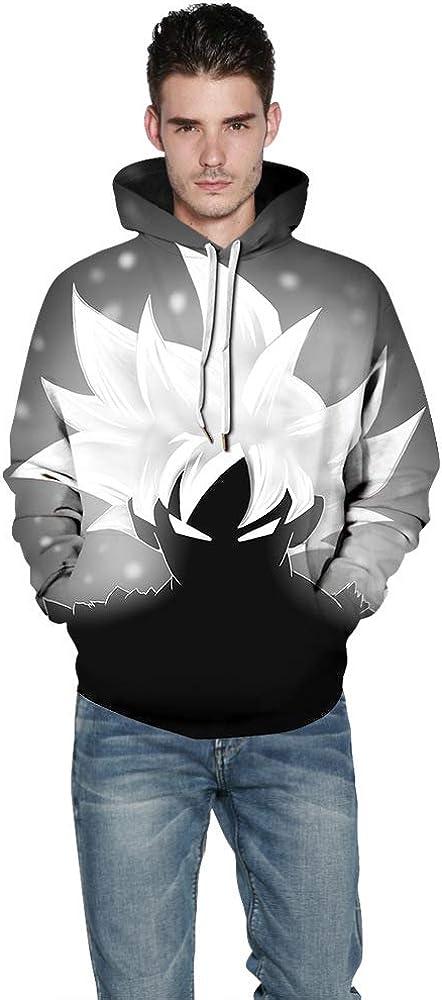 PZJ Unisexe Pull Sweat /à Capuche 3D Impression Dragon Ball Z Manches Longues Hoodie Sweatshirt avec Kangourou Poche