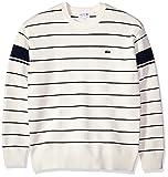Lacoste Men's Long Sleeve Heritage France Milano Crew Neck Sweater, Ah4549, Flour/Navy Blue, 4