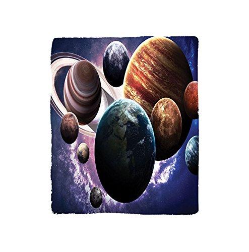 VROSELV Custom Blanket Space Collection Solar System Planets All Together in Space Mercury Jupiter Globe Saturn Universe Concept Bedroom Living Room Dorm Multi by VROSELV
