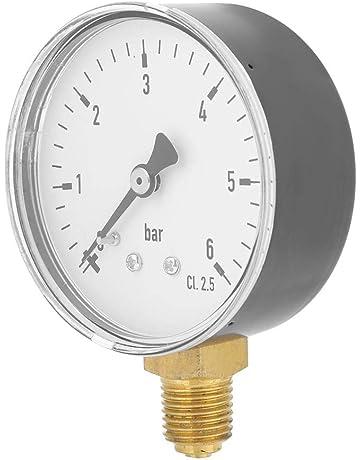 aus Messing im Kunststoffgeh/äuse /Ø 50 mm HELO 0-4 bar Manometer waagerecht Druckluft Manometer//Vakuummeter 1//4 Anschluss hinten