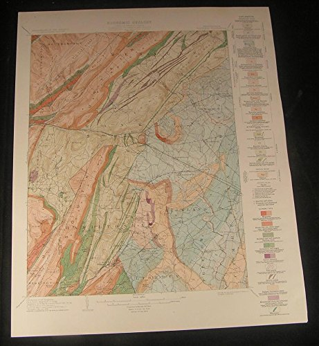 Fairfield Pennsylvania Arendtsville Franklin 1929 vintage color Geology map