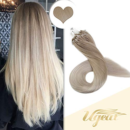 Ugeat Micro Loop 100% Real Human Hair Extensions 18inch Ombre Ash Blonde Fading to Platinum Blonde 1g/Strand 100Gram Micro Loop Ring Hair Extensions (1 Gram Loop Extensions)