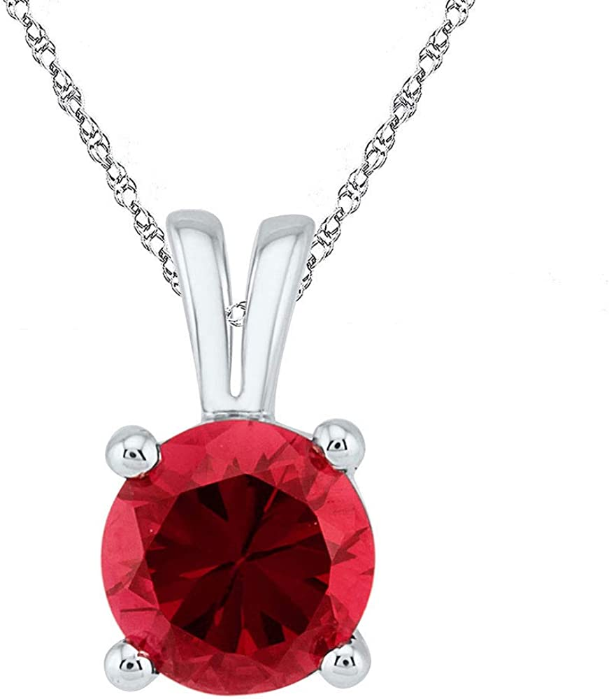 FB Jewels Sterling Silver Womens Round Lab Created Ruby Solitaire Pendant 1 1//3 Cttw