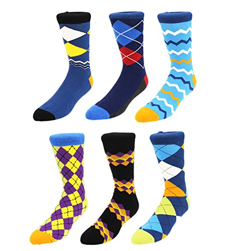 Zmart 6 Pack Men's Crew Argyle Socks, Classic Colorful Diamond Assorted Cotton Dress Socks Father's Day Gift Box Mens Argyle Pattern Socks