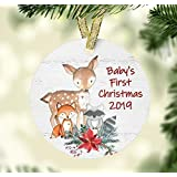 Baby's First Christmas 2019 Ornament - Woodland Animals Theme Baby Shower Present - Ceramic Christmas Ornament