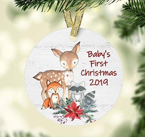 Baby's First Christmas 2019 Ornament - Woodland Animals Theme Baby Shower Present - Ceramic Christmas -