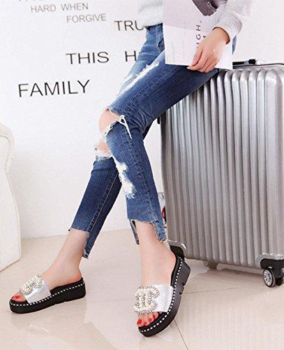 de las mujeres de la perla de la moda femenina jalea zapatillas de playa verano sandalias planas ocasionales Silver