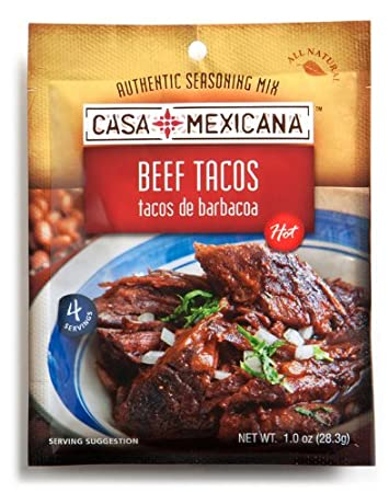 Casa Mexicana Beef Tacos Seasoning Mix, 1-Ounce Bags (Pack of 12)
