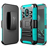 Moto G4 Play Case, Nagebee - High Impact Resistant Black Dual Layer Armor Holster with Belt Clip Case for Motorola Moto G4 Play(2016) Release (Teal)