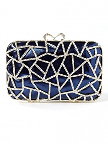 Natasha Couture Blue Crystal Patch Clutch