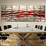 Extra Large Red & Silver Handpainted Contemporary Metal Wall Art Sculpture - Multi-Panel Modern Home Décor Wall Accent- Caliente XL by Jon Allen