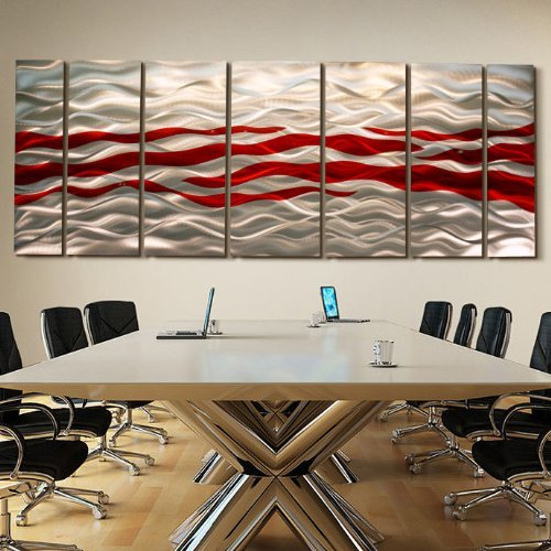 Extra Large Red & Silver Contemporary Metal Wall Art - Multi-Panel Modern