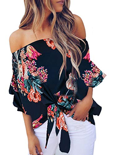 FARYSAYS Women's Summer 3 4 Bell Sleeve Floral Chiffon Blouses Off Shoulder High Low Tie Knot Shirt Tops Blue Small