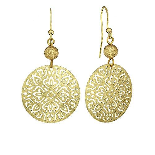 Brushed Gold Tone Circular Cut-Out Flower Dangle Earrings