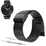 "18mm Milanese Loop Stainless Steel Strap Band For ZenWatch 2 (1.45"" / 45mm) 2015 (YESOO Retail Packaging - 180 Days Warranty) (Loop Black)"