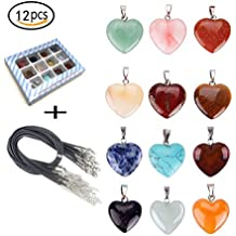 Tpocean 12PCS Heart Stone Necklace Healing Chakra Crystal Stones for Jewelry Making Charms with 18 Inch Black Leather Cord for Women Girls