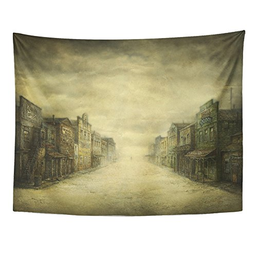 Emvency Tapestry Print 60x80 Inches Western Wild West Town Acrylic on Old Saloon Street Vintage City Movie Wall Wall Hangings Home Decor]()