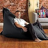 BAZAAR BAG ® - Giant Beanbag BLACK - Indoor & Outdoor Bean Bag - MASSIVE 180x140cm - GREAT for Garden