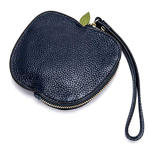 Genuine Leather Wallet Coin Purse Women Apples Coin Purse Zipper Card Holder (Color - Deep Blue)