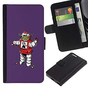 LECELL--Cuero de la tarjeta la carpeta del tirón Smartphone Slots Protección Holder For Apple Iphone 6 PLUS 5.5 -- Oldschool Vintage caramelo retro del robot --