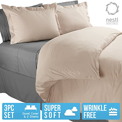 Nestl Bedding Duvet Cover, Protects and Covers your Comforter / Duvet Insert, Luxury 100% Super Soft Microfiber