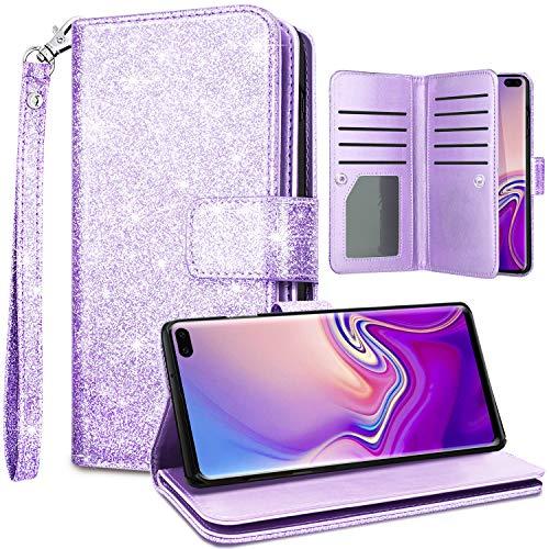 Fingic Samsung S10 Plus Case, Glaxy S10 Plus Case, Glitter Sparkle Cover 9 Card Holder PU Leather Detachable Wrist Strap Wallet Case for Women Protective Case for Samsung Galaxy S10 Plus 6.4, Purple