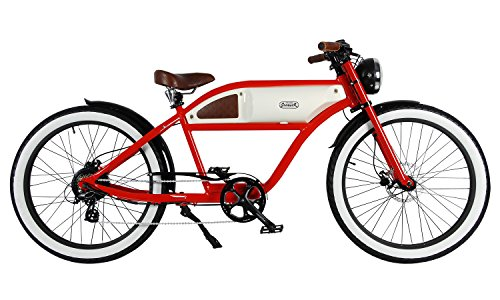 "Michael Blast T4B Greaser Retro Style Electric Bike - 26"" Wheels, Bafang 350W Brushless Electric Motor, 7-Speed, 36V13Ah, Li-Ion Battery, Extended Range"