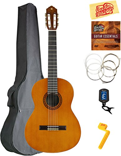 Yamaha CS40 7/8-Scale Classical Guitar Bundle with Gig Bag, Clip-On Tuner, Austin Bazaar Instructional DVD, Strings, Picks, and Polishing Cloth - Natural