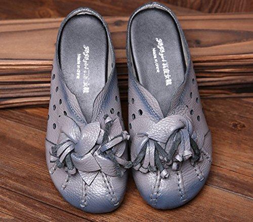 Soojun In Pelle Da Donna Tagliata Comoda Antiscivolo In Stile Pantofola 1-grigio