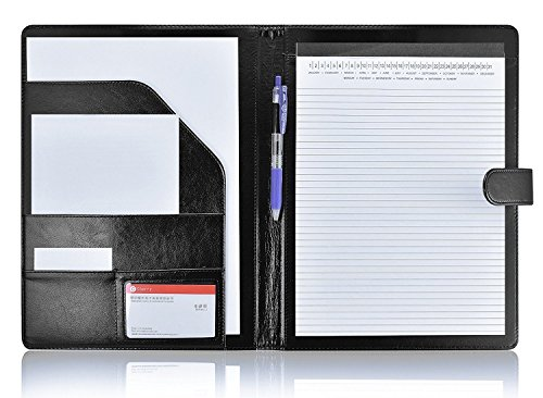 esume Folder with Pocket, Premium Faux Leather Interview Writing Legal Pads Document Organizer Portfolio with Business Card Holder (Black) ()