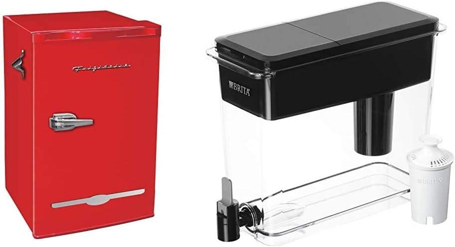 Frigidaire Retro Bar Fridge Refrigerator with Side Bottle Opener, 3.2 cu. ft, Red & Brita Ultra Max Filtering Dispenser, Extra Large 18 Cup, Black