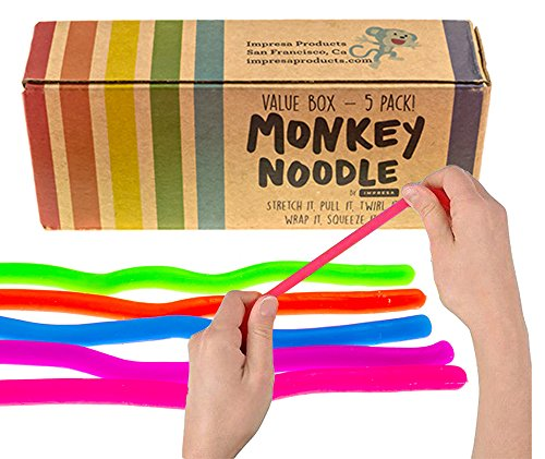 Impresa Products 5-Pack of Stretchy String Fidget / Sensory Toys (BPA/Phthalate/Latex-Free) - Stretches from 10 Inches to 8 Feet! (Monkey Go Happy 5 Cool Maths Games)