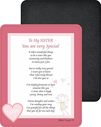 Rikki Knight To My Sister You are Very Special - Happy Cute Girl with Hearts Poem Design Premium Quality Faux Leather Mouse Pad Sis Custom Fabric