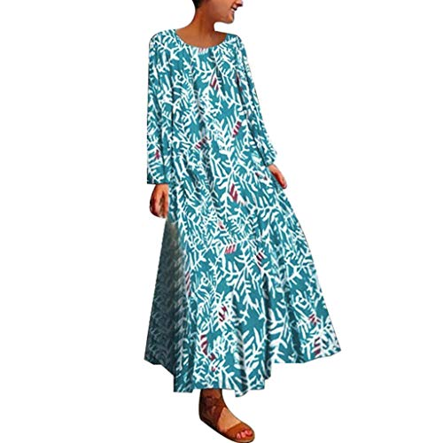 Woman's Loose Maxi Dress Long Cotton Caftan Dress Bohemian National Straight Skirt Summer (Green, 2XL)