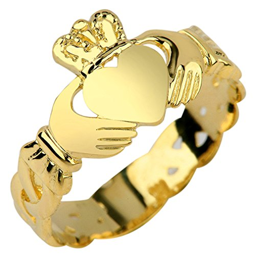 14k Yellow Gold Claddagh Ring with Trinity Band (14K Gold, 10)