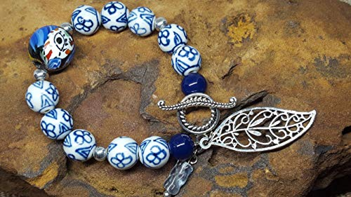 Stylized Leaves - Bracelet One of a Kind Royal Blue Antique Patterned Porcelain Beads Silver Tone Beads Stylized Leaf Charm Stretch w/Toggle #78