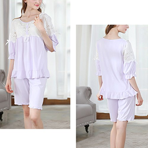 Zhhlinyuan Girls Cute Lace Sleepwear Nightgown Summer Womens Comfortable Cotton Pajama Set Purple