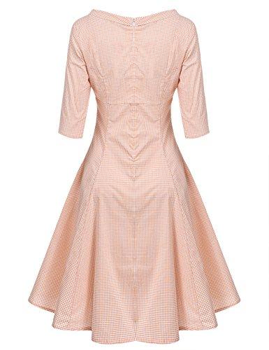 50s Sommer vintage Partykleider Kleider Kleid Acevog Orange Damen elegant Cocktailkleider halbe 1950er XXL S retro Ärmel Rockabilly 7Bwqqg05X