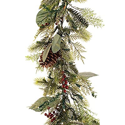 9 ft. Artificial Pre Lit LED Decorated Garland - Winter Frost Christmas Garland - 100 super mini LED warm clear colored lights with timer and battery pack for indoor and outdoor use