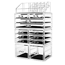 """HBlife Makeup Organizer Acrylic Cosmetic Storage Drawers and Jewelry Display Box with 12 Drawers, 9.5"""" x 5.4"""" x 15.8"""",4 Piece"""