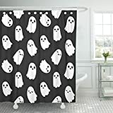 Emvency Shower Curtain 72''x78'' Polyester Fabric White Halloween Of Cute Little Cartoon Ghosts On Black Monster Sweet Face Paranormal Waterproof Adjustable Hook