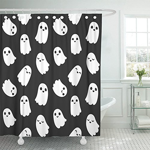 Emvency Shower Curtain 72''x78'' Polyester Fabric White Halloween Of Cute Little Cartoon Ghosts On Black Monster Sweet Face Paranormal Waterproof Adjustable Hook by Emvency