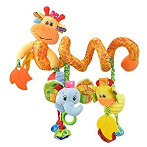 Happy Cherry - Juguetes Colgantes Espiral de Animales para Cuna Cochecito Carrito bebés Recien nacidos Peluche con Mordedor para niños niñas arrastrar ...