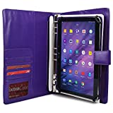 Vodafone Smart Tab 10 / II 10 / III 10.1 Case with Notepad, COOPER FOLDERTAB Business Travel Luxury PU Leather Portfolio Protective Case Cover with Paper Notebook & Card Pocket ( Purple)