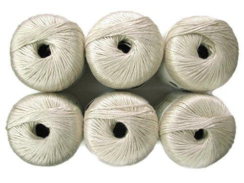Silk Bamboo Yarn, 2.2oz, 6-Pack (Ivory) ()