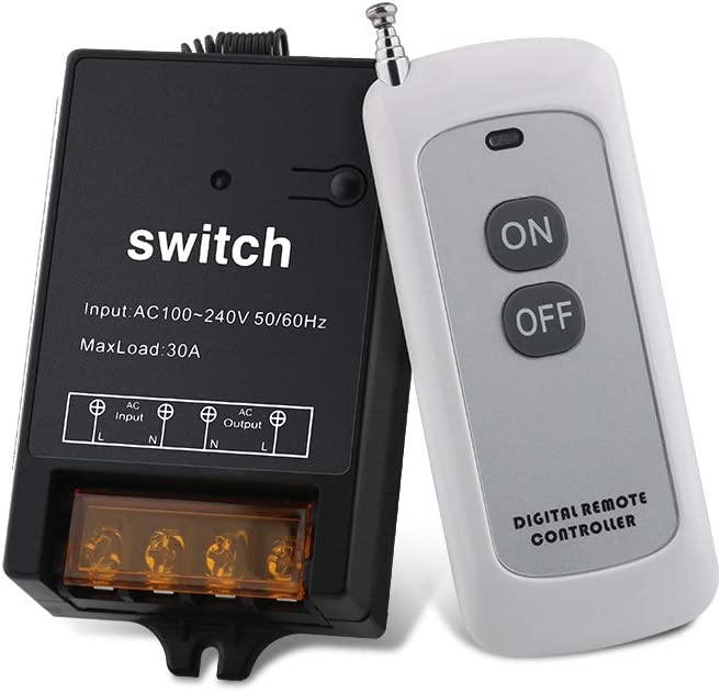 Outdoor Indoor Wireless Remote Control Switch with 1640FT Remote Range, AC 110V/120V/240V Max Load 30A Switch for Household Appliances and Industrial Equipment